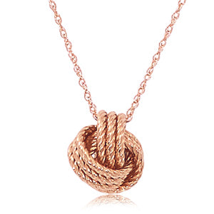 "14k Rose Gold Twisted Love Knot w/18"" Chain"