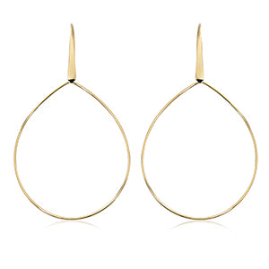 14k Yellow Gold Pearshape Drop Earrings