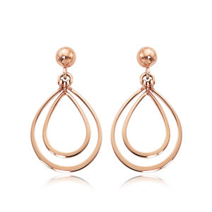 14k Rose Gold Double Pearshaped Drop Earrings