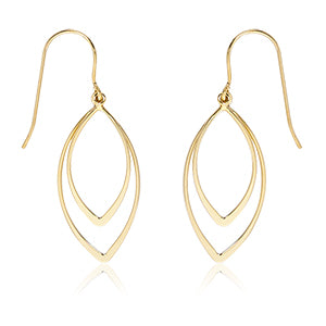 14k Yellow Gold Double Pointed Drop Earrings