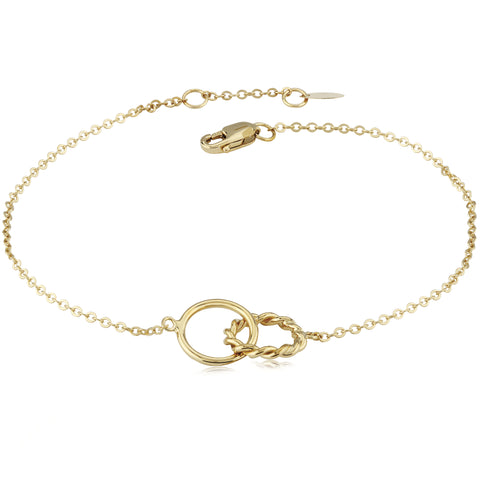 14k Yellow Gold Plain/Twist Ring Bracelet