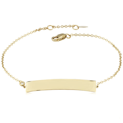 14k Yellow Gold Engravable Bar Bracelet