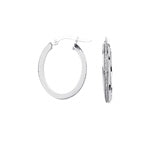 14k White Gold Glitter Hoops