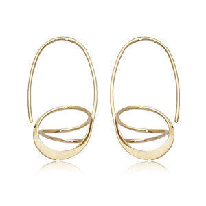 14k Yellow Gold Oval Basket Hoop Earrings