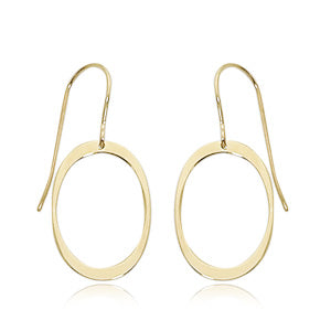 14ky Medium Simple Oval Earrings