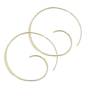 14k Yellow Gold Medium Swirl Hoop Earrings