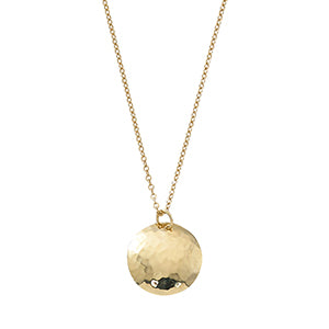 14k Yellow Gold Hammered Disc Pendant