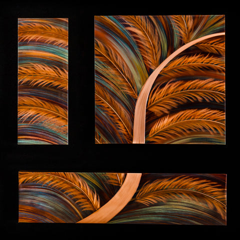 "Copper ""Fern Triptych"" 20"" x 8""  20"" x 20""  32"" x 8"""