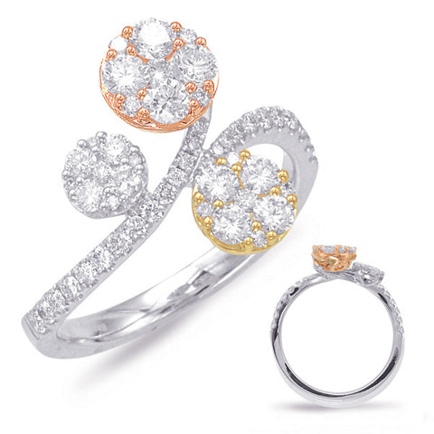 14k Rose and Yellow and White Gold Diamond Ring