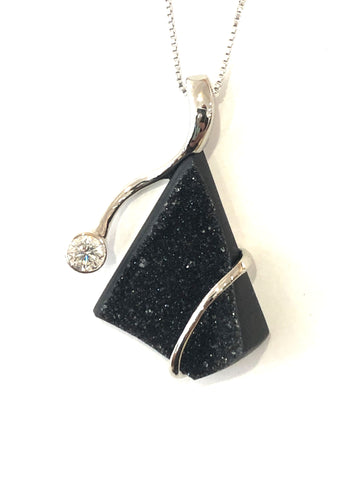 14k White Gold Druzy and Diamond Pendant