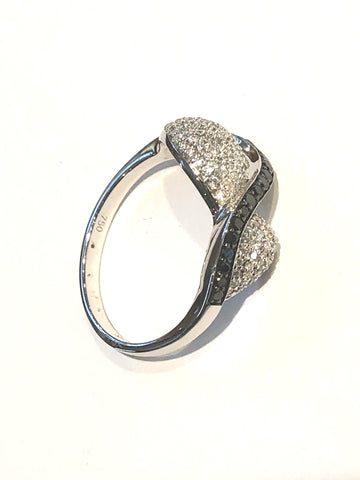 18k White Gold Black and White Diamond Ring