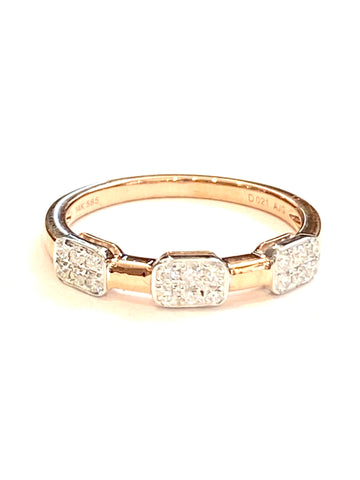 14k Rose and White Gold Diamond Ring