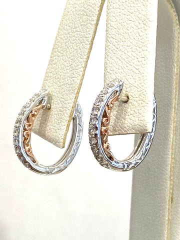 14k White and Rose Gold Diamond Hoop Earrings