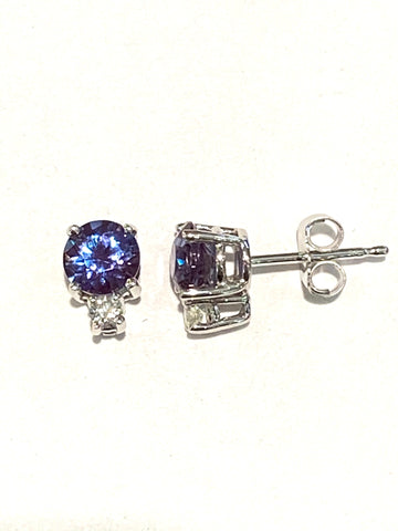 14k White Gold Created Alexandrite and Diamond Studs