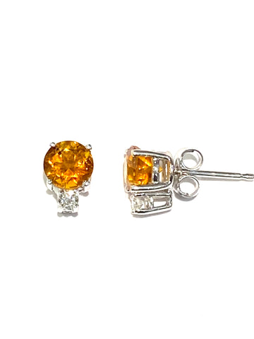 14k White Gold Citrine Earrings