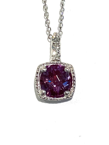 14k White Gold Created Alexandrite and Diamond Pendant