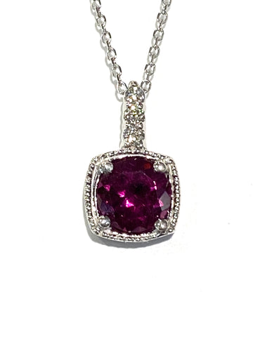 14k White Gold Rhodolite Garnet and Diamond Pendant