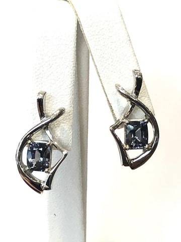 14k White Gold Gray Spinel Earrings