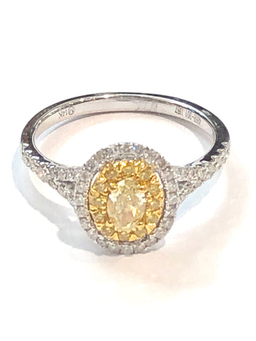 14k Two-Tone Canary and White Diamond ring