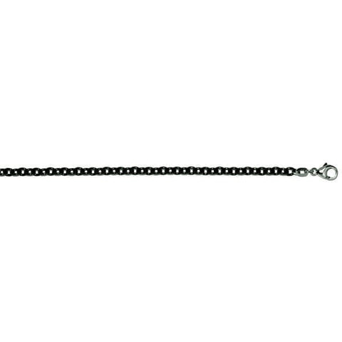 "Stainless Steel 24"" Oval Black Chain"