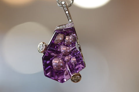 (Design ideas) 14k White Gold Amethyst and Diamond Pendant
