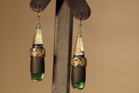 18k Yellow Gold Quartz, Onyx, and Green Tourmaline Earrrings