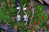 14k White Gold Blue, Top Light Brown, and White Diamond Earrings