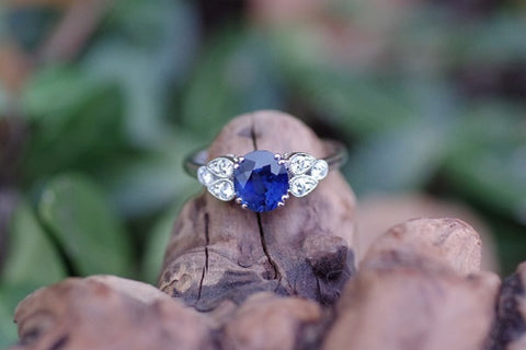 14k White Gold 1.70ct Oval Sapphire and Diamond Ring