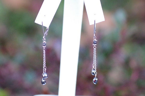 14k White Gold Double Drop Black Diamond Earrings