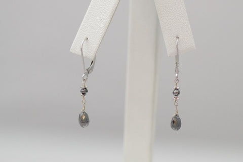 14k White Gold Single Drop Short Black Diamond Earrings