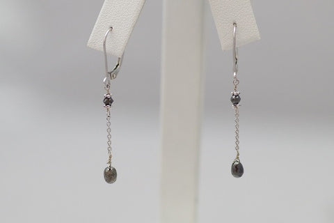 14k White Gold Single Drop Long Black Diamond Earrings