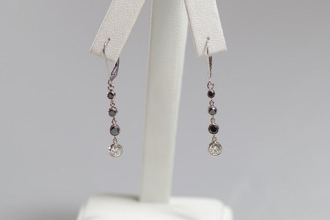 14k White Gold Black and White Diamonds Drop Earrings