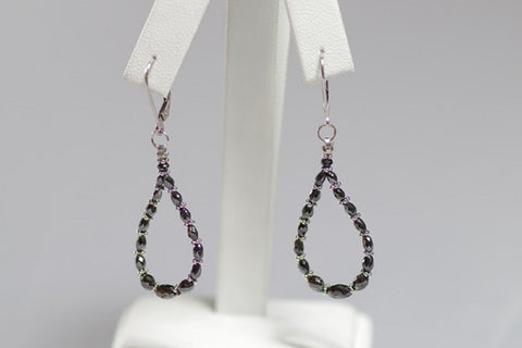 (Design ideas) 14k White Gold and Black Diamond Drop Earrings