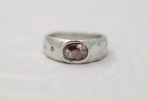Custom 14k hammered polished white gold ring, rose cut reddish diamond, white, green, and pink melee diamonds, Handmade in Ashland OR, Art FX Fine Jewelry
