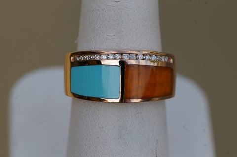 14k Rose Gold Turquoise and Chalcedony Ring
