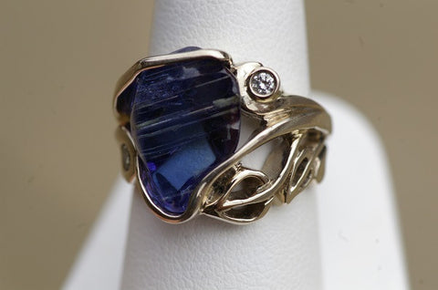 14k White Gold Free Form Tanzanite and Diamond Ring