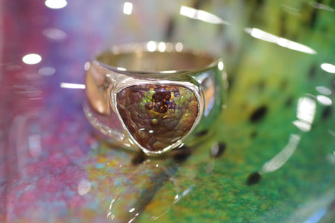 14k Yellow Gold Mexican Fire Agate Ring