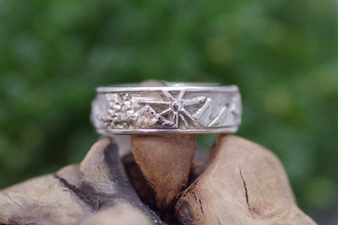 14k White Gold Custom Carved Ring