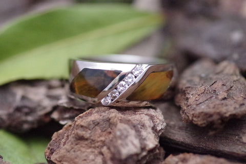 14k White Gold Diamond and Pietersite Ring