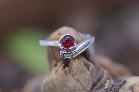 14k White Gold Red Sapphire and Diamond Ring