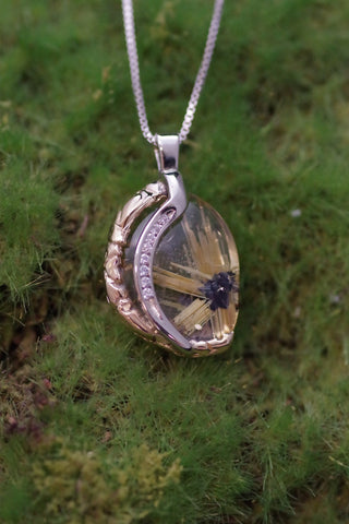 (Design Ideas) 14K White and Yellow Gold Rutilated Quartz and Diamond Pendant