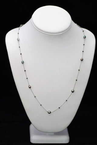 14k White Gold Keshi Pearl and Black Diamond Necklace