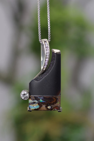 14k White Gold Opal Druzy and Diamond Pendant