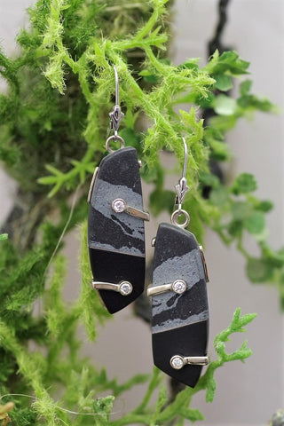 14k White Gold Hematite, Black Jade and Diamond Earrings