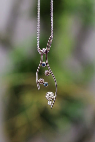 14k White Gold Blue, Top Light Brown, and White Diamond Pendant