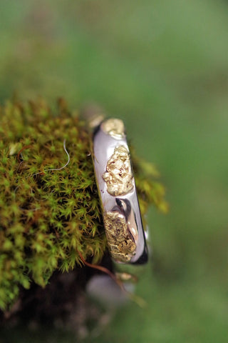 14k White Gold Alaskan Gold Nugget Ring