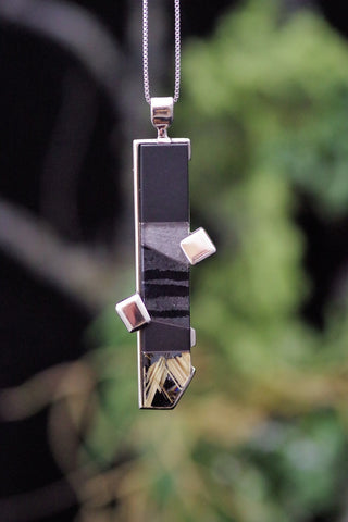 14k White Gold, Black Jade, Hematite, Meteorite, and Rutilated Quartz Pendant