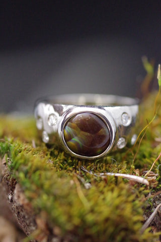 14k White Gold Fire Agate and Diamond Ring