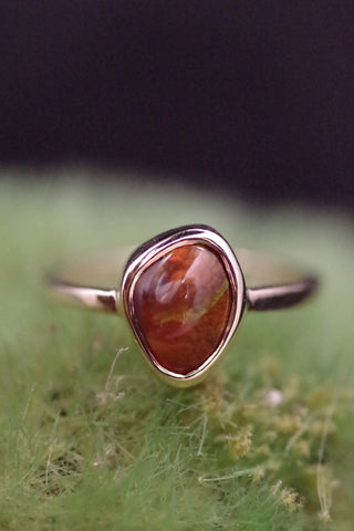14k Yellow Gold Fire Agate Ring