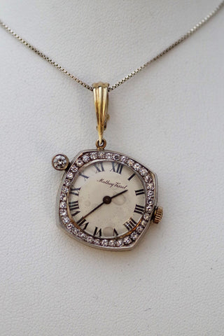 Vintage Massey-Tissot Watch Pendant with Diamonds